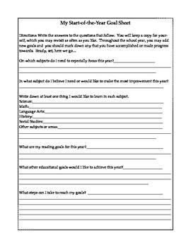Student Goal Sheet