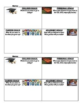Student Goal Sheet- College, Career, Academic, and Personal