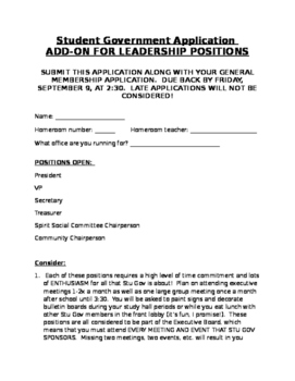 Student Government Council Application Secondary Middle Hi