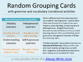 Student Grouping Cards with Grammar & Vocab Transitional A