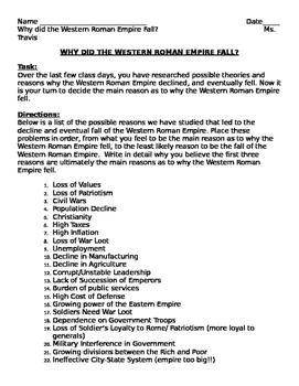 Student Handout: Why did the Western Roman Empire Fall?