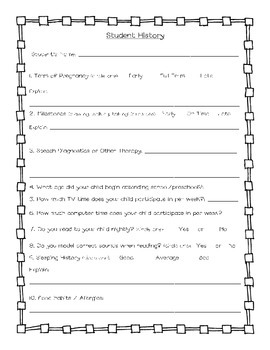 Student History Questionnaire