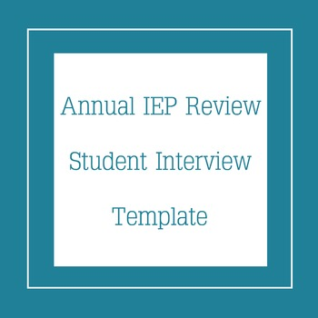 Student IEP Interview Template