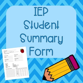 Student IEP Summary Page