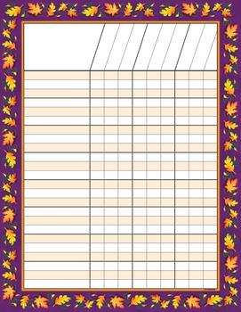 Student Incentive Chart - Autumn or Fall Season