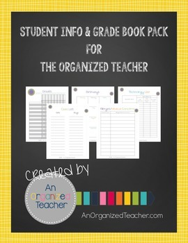 Student Info and Grade Book Pack for the Organized Teacher