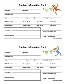 Student Information Card – Coordinates with Sock Monkey Th