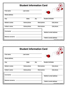 Student Information Card - Freebie - Coordinates with Lady