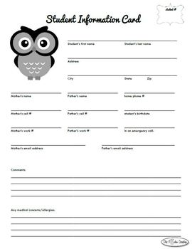 Student Information Card for Back to School