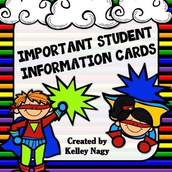 Student Information Cards SUPER HERO