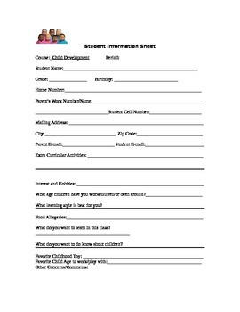 Student Information Form for Child Development Class
