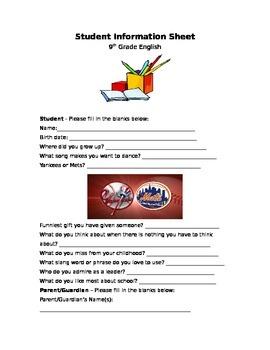 Student Information Gathering Sheet