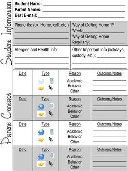 Student Information & Parent Contact Sheet