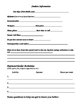 Student Information- Questionnaire