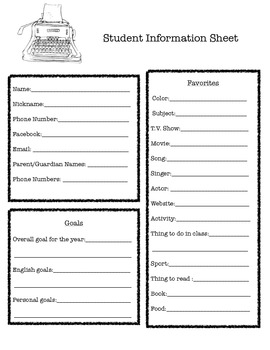 Student Information Sheet- 1st Day