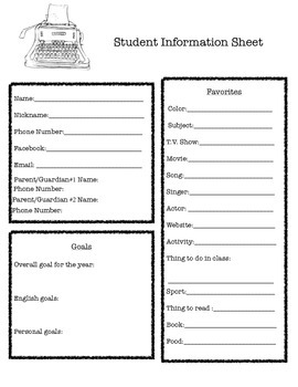 Student Information Sheet 1st Day