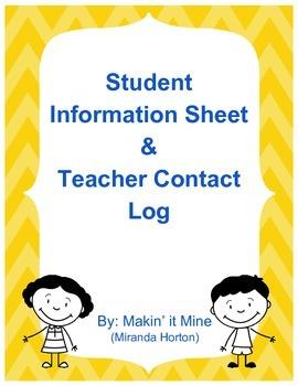 Student Information Sheet & Contact Log