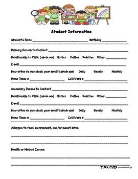Student Information Sheet - First Grade