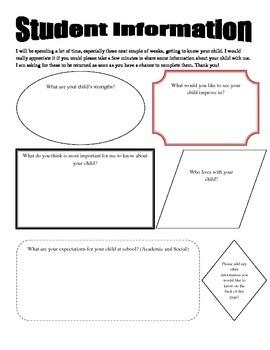 Student Information Sheet for Parents