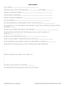 Student Information Sheet for Spanish Students