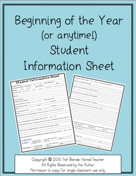 Student Information Sheet {for beginning of the year...or