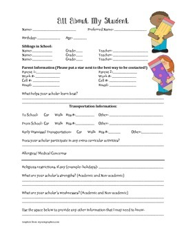 Student Information Sheet for the Beginning of the Year Pr
