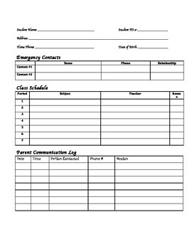 Student Information Sheet with Class Schedule