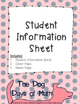 Student Information and Contact Sheet - Navy Dots