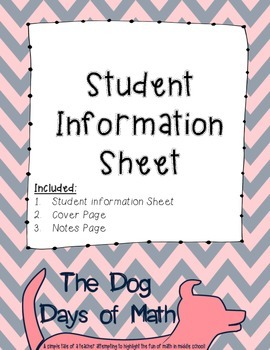 Student Information and Contact Sheet - Pink and Navy Chevron