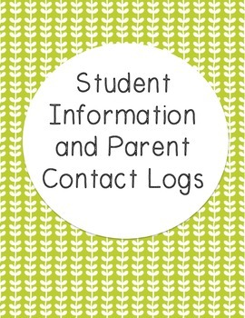 Student Information and Parent Contact Log - Data Binder