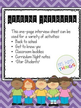 Student Interview (All About Me) Activity