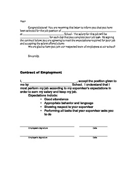 Student Job Contract for Classroom or School Jobs