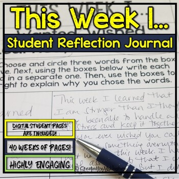 "Student Journal and Writing Prompts - ""This Week I...""  {4"
