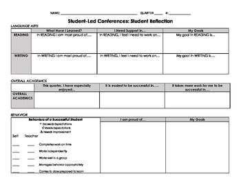 Student-Led Conference Reflection to Parents - ELA, Academ