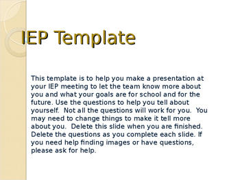 Student Led IEP Powerpoint
