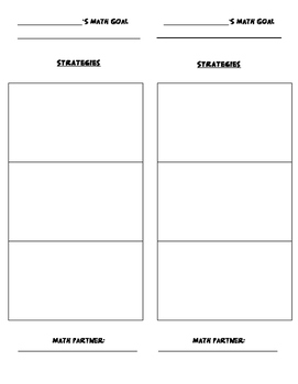 Student Math Goal and Strategies- Bookmark