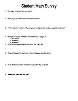 Student Math Survey