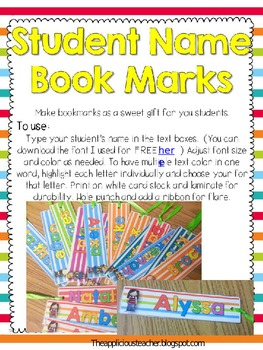 Student Name Bookmarks-Editable