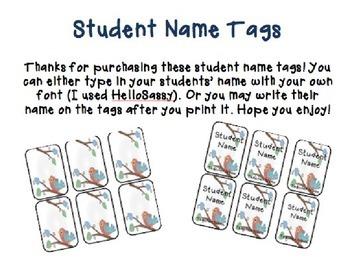 Student Name Tags Bird Theme