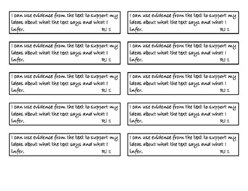 """Student Notebook CCSS Reading Informational """"I Can"""" Strips"""