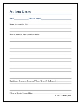 Student Notes During Counseling Session form