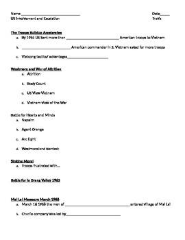 Student Notes Page Vietnam War: Weapons, Tactics, Battles,