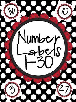Student Number Labels 1-30