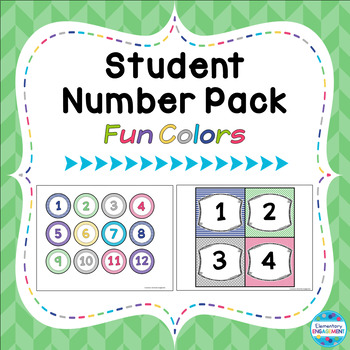 """Student Number Pack in """"Fun Colors"""""""