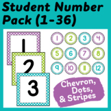 Student Number Pack in Purple, Lime Green, and Turquoise