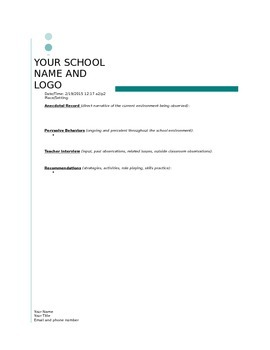 Student Observation Anecdotal Record Template