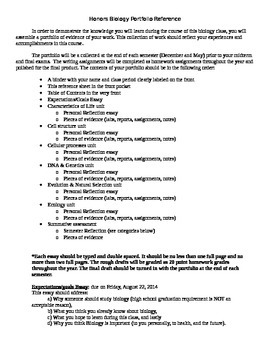 Student Portfolio Reference Sheet