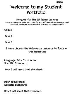 Student Portfolio cover sheet (Trimester format) T1
