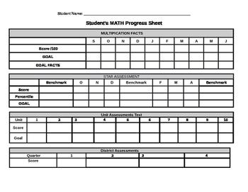 Student Progress Monitoring Sheet for Math