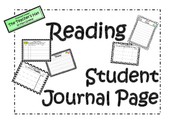 Student Reading Journal Pages